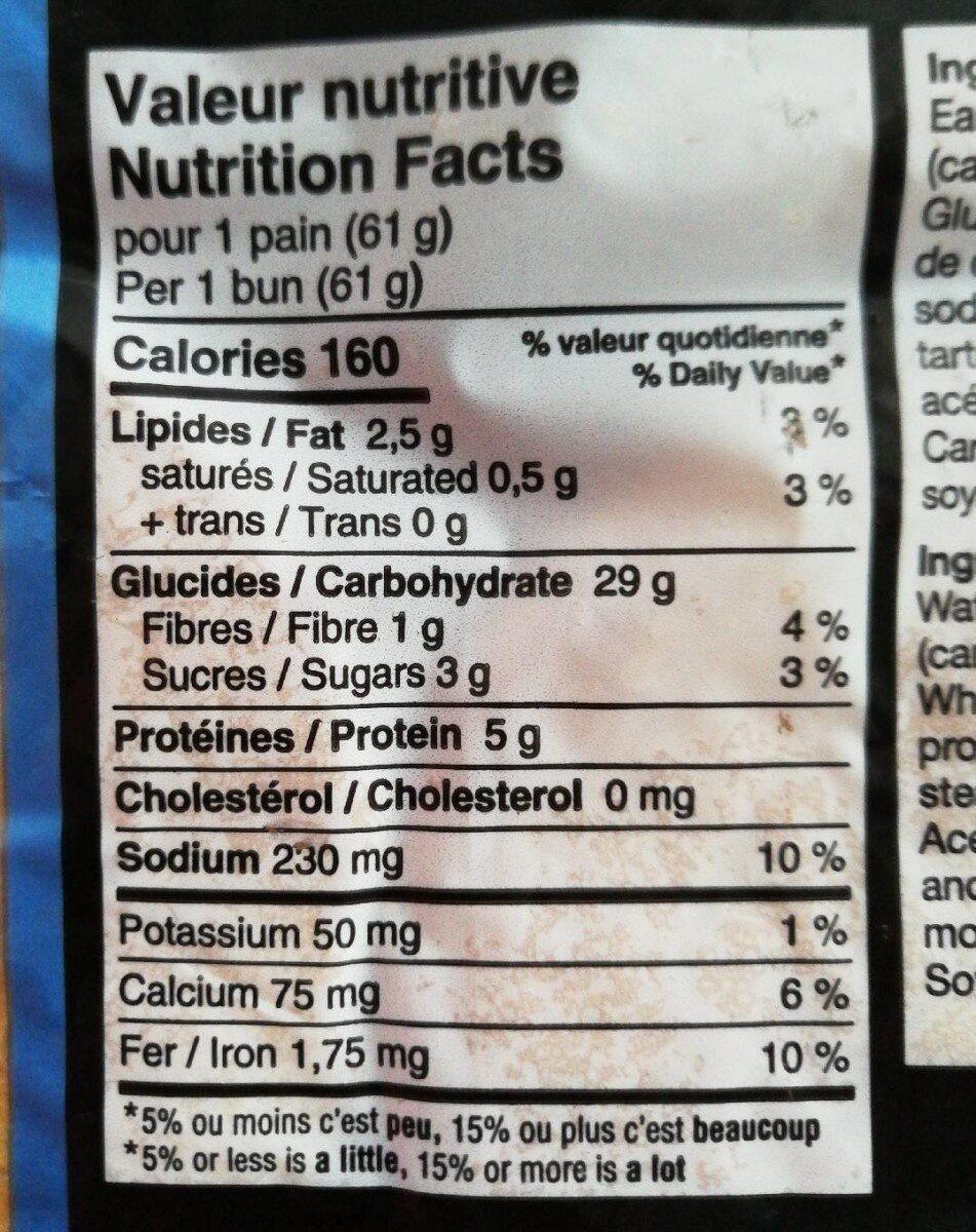 Pain Hamburger Ultra Moelleux (sesame) - Informations nutritionnelles - en