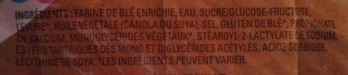 Ultra-moelleux pain blanc superclub sandwich - Ingrédients - fr