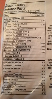 Ultra-moelleux pain blanc superclub sandwich - Informations nutritionnelles - fr