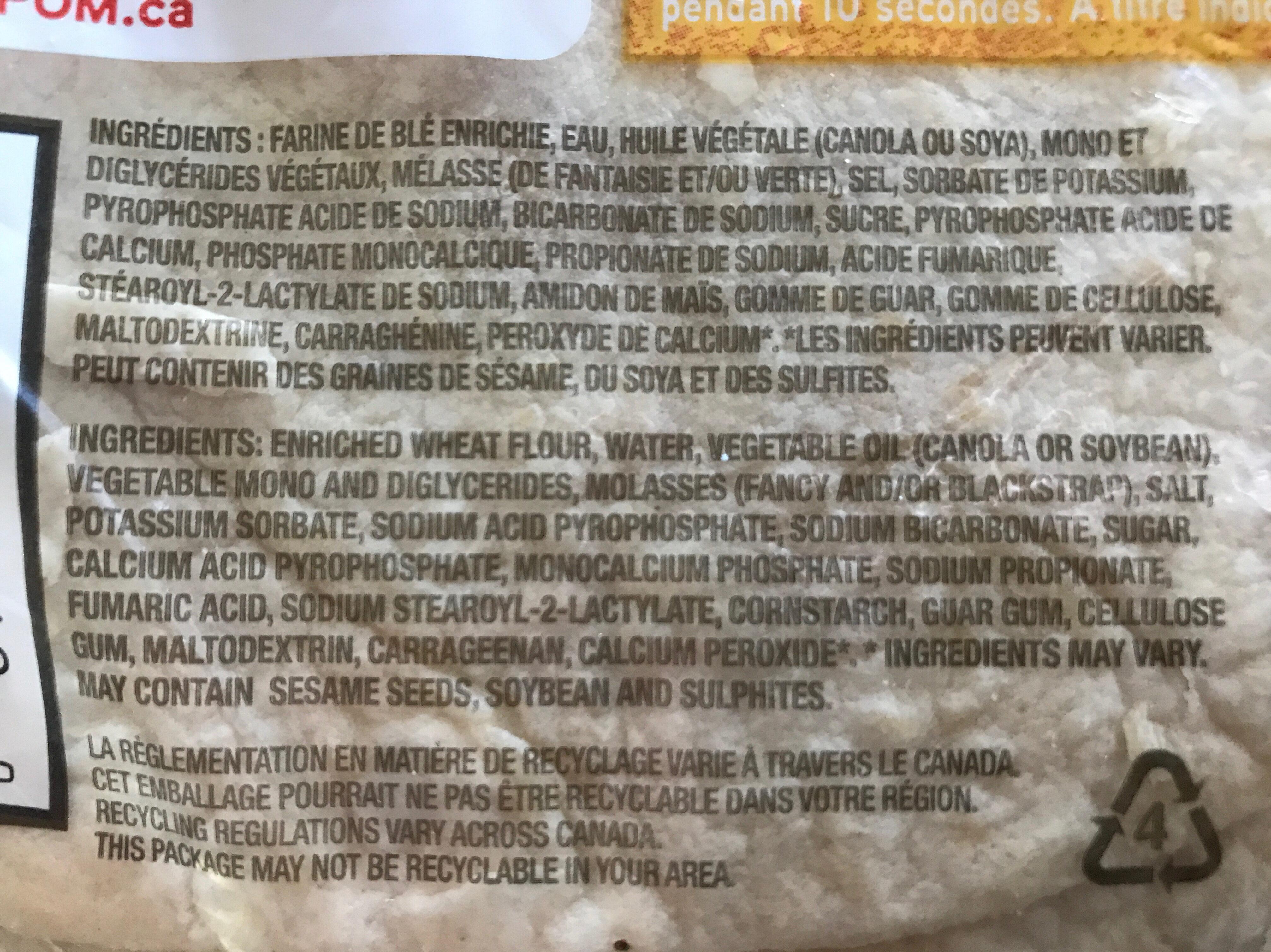 Tortillas - Ingrédients - fr