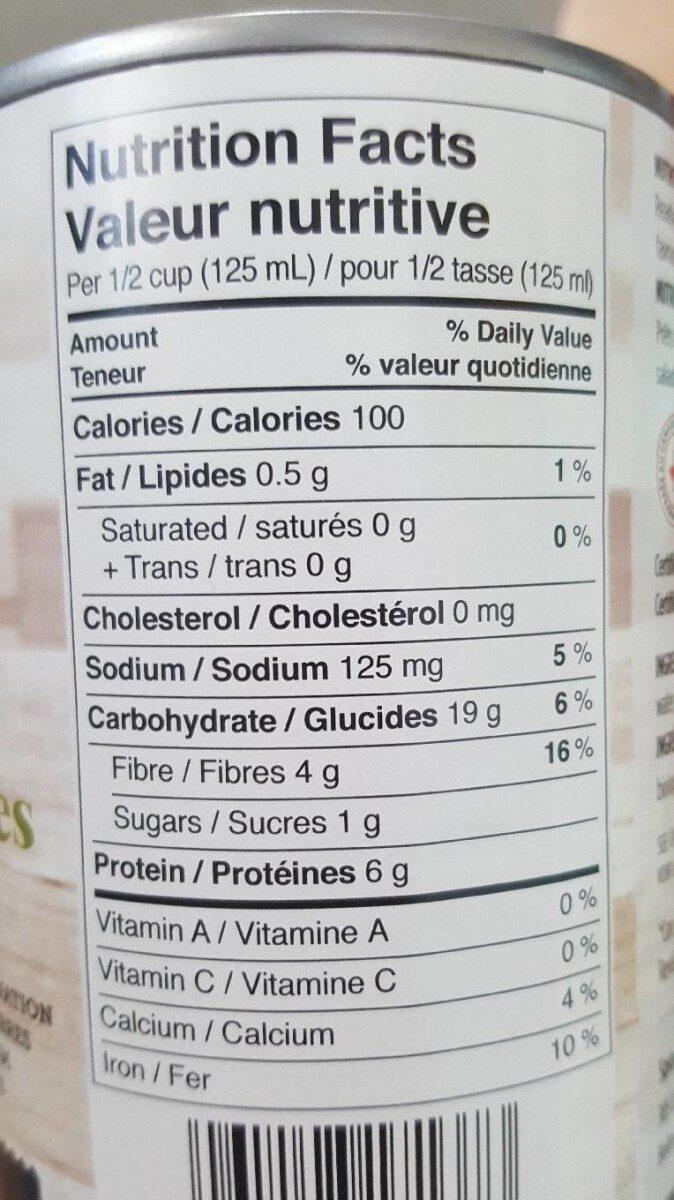 Haricots noirs biologiques - Informations nutritionnelles - fr