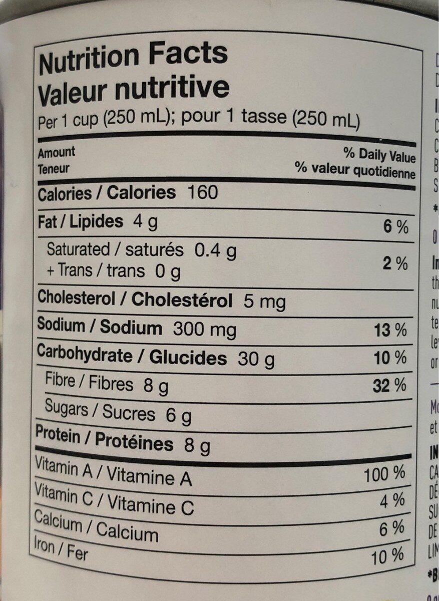 Soupe aux patates douces bio - Informations nutritionnelles - fr