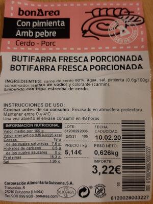 Butifarra Fresca Porcionada - Producte - es