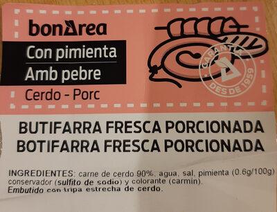 Butifarra Fresca Porcionada - Ingredients - es