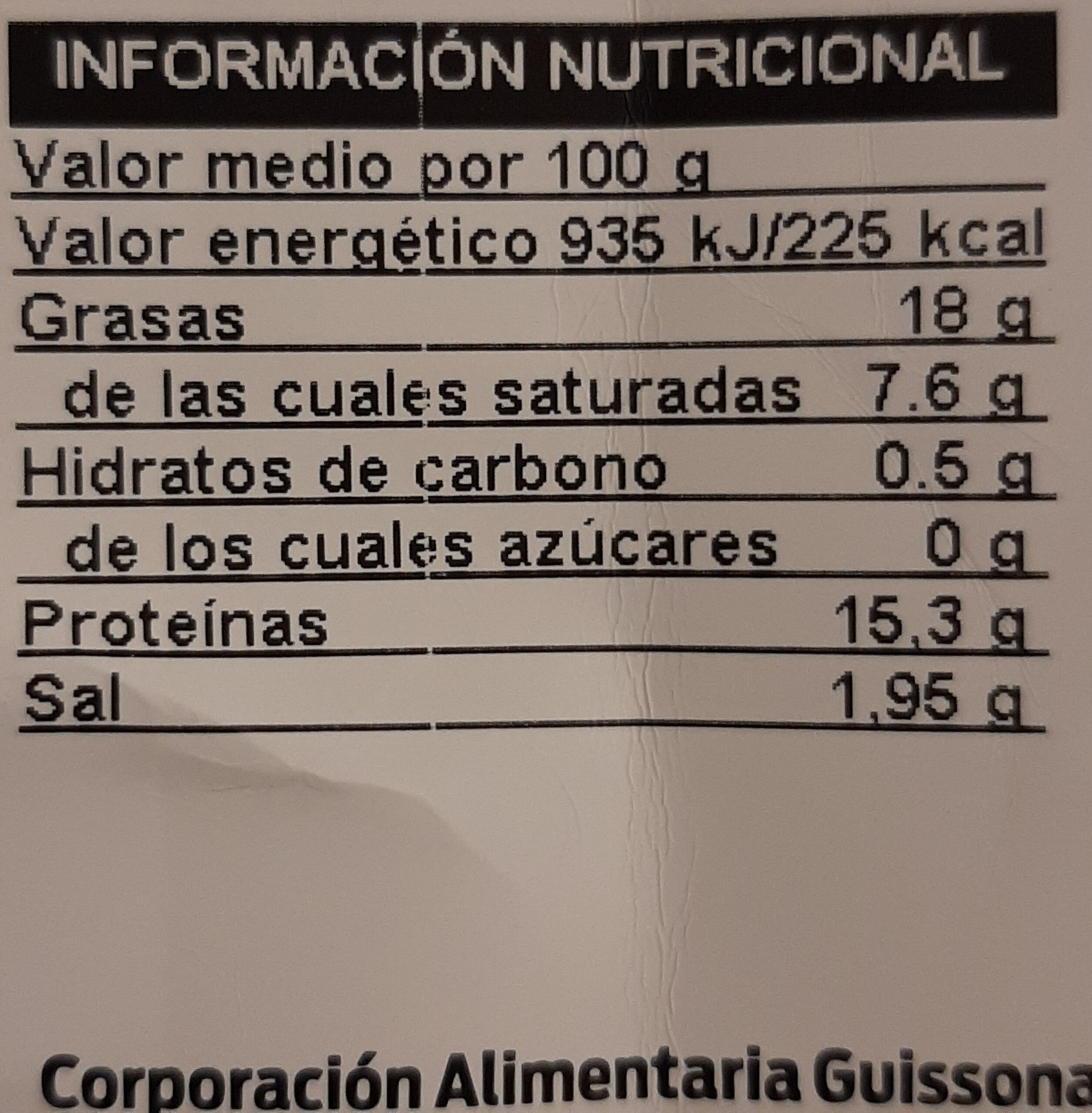 Butifarra Fresca Porcionada - Informació nutricional - es