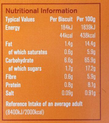 Stem ginger oat biscuits - Valori nutrizionali - en