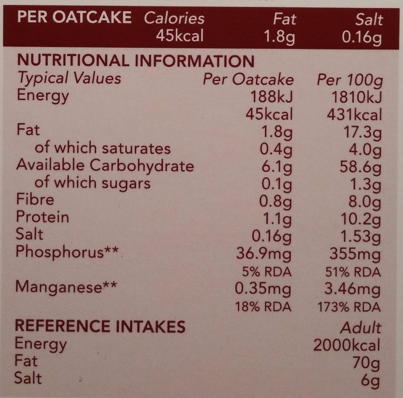 Nairns Rough Oatcake - Nutrition facts
