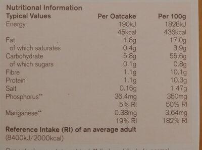 Nairns Rough Oatcake - Nutrition facts - en