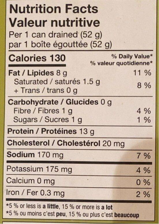 Thon pâle entier dans l'huile d'olive - Nutrition facts - fr