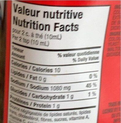 Bovril Boeuf - Nutrition facts - fr