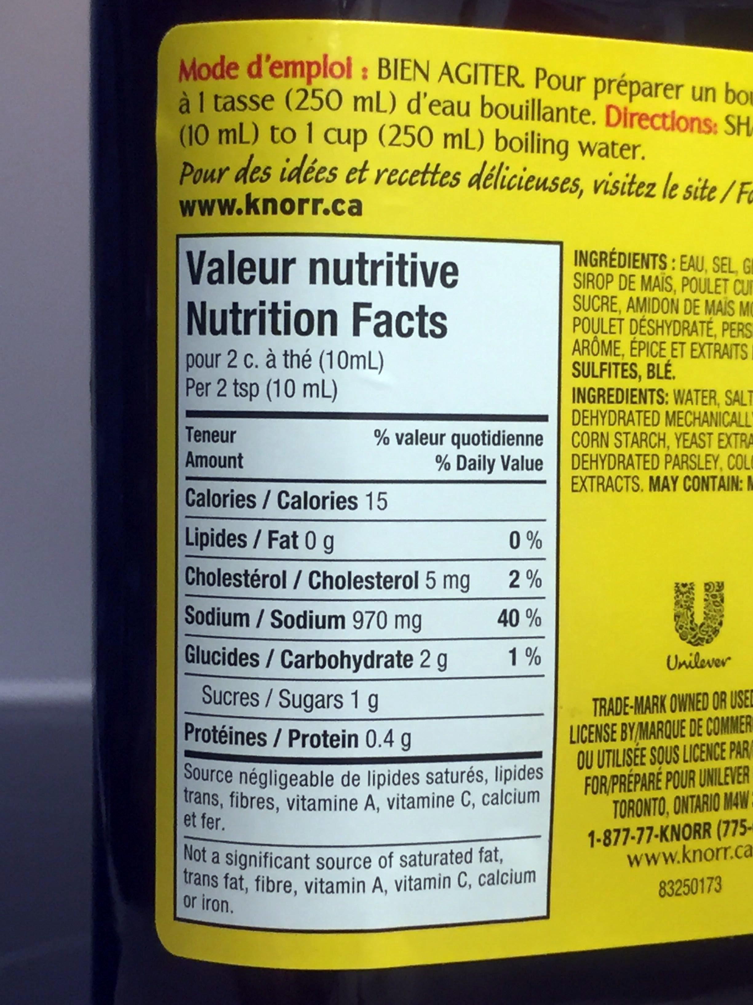 Knorr / Bovril Chicken - Voedingswaarden - fr