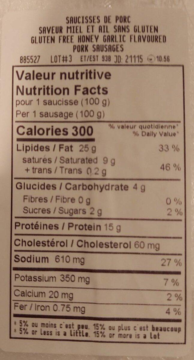 Saucisses de porc miel et ail - Nutrition facts - fr