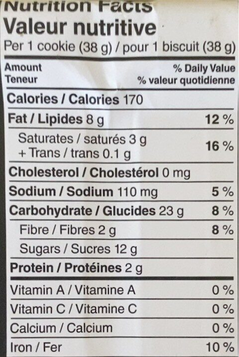 Biscuits - Nutrition facts - fr