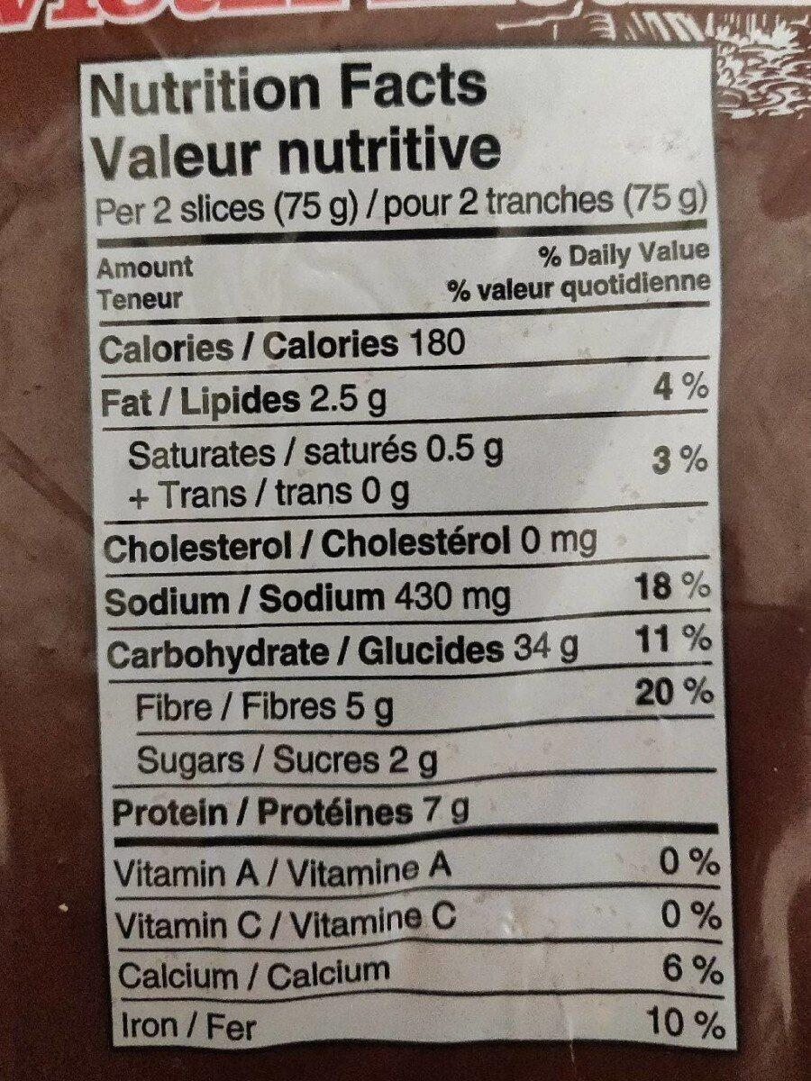 Old Mill 100% Whole Wheat Bread - Informations nutritionnelles - en