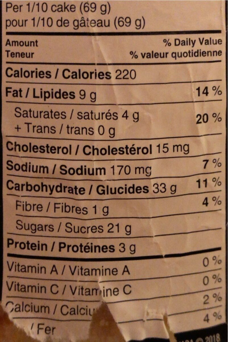 Vanilla cake - Informations nutritionnelles - en