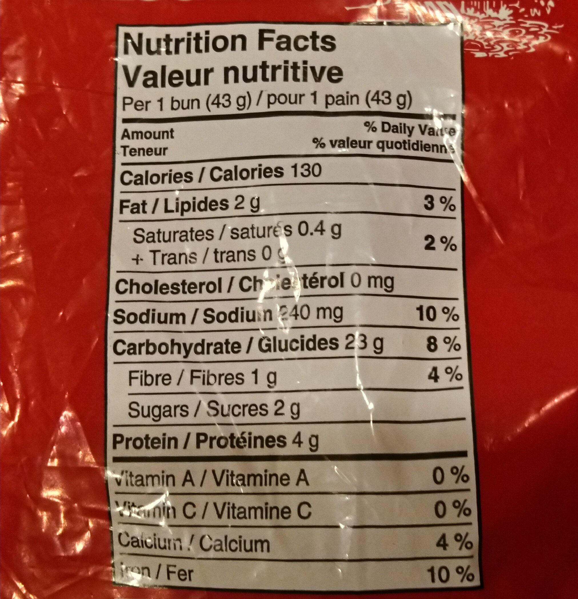 Hot Dog Buns - Informations nutritionnelles - en