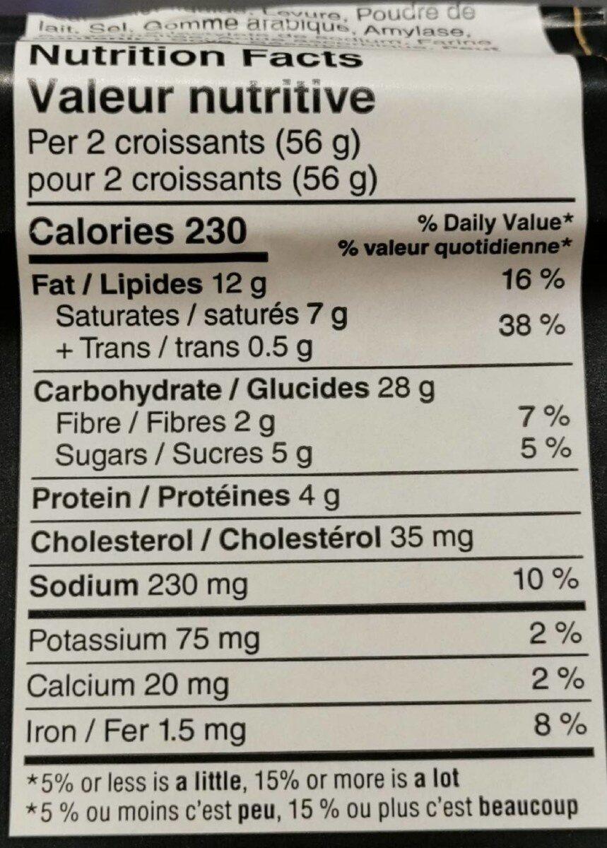 Croissants au beurre - Informations nutritionnelles - fr