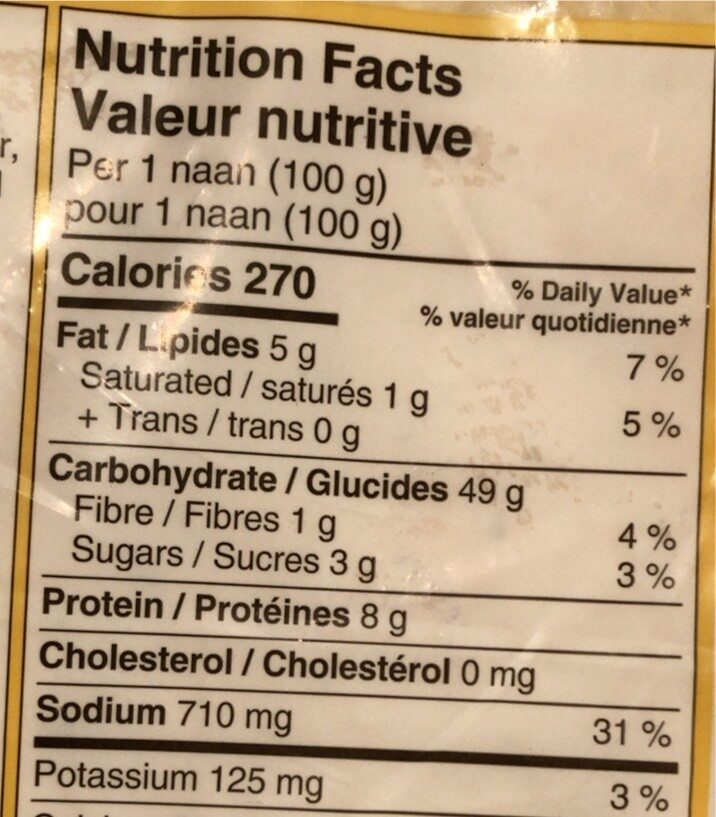 Naam - Informations nutritionnelles - en