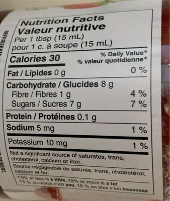 Strawberry spread - Informations nutritionnelles