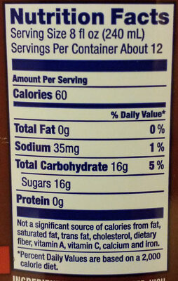 Stars & Stripes, Root Beer - Informations nutritionnelles