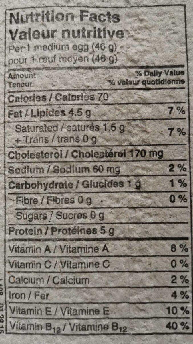 Poules en liberté - Nutrition facts - fr