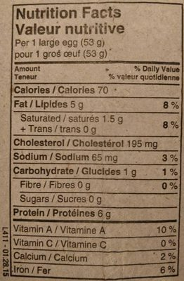 Nutri Egg Organic Brown - Informations nutritionnelles - fr