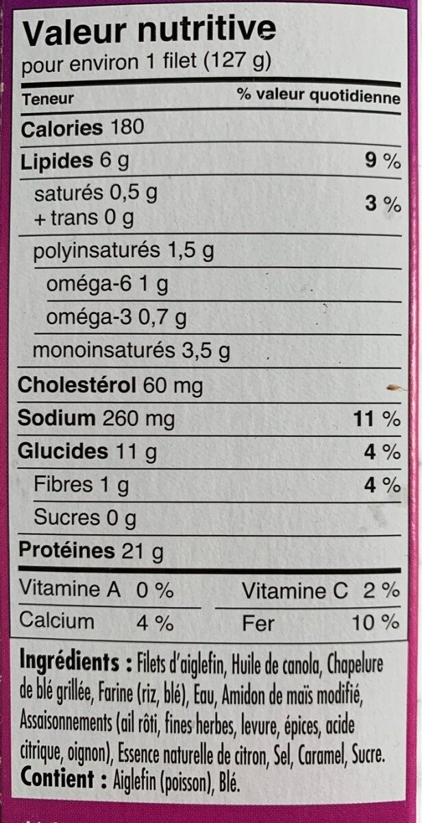 Aiglefin Sauvage - Nutrition facts - fr