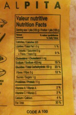 Pita - Nutrition facts - fr