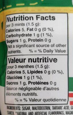 Tic tac - Informations nutritionnelles - fr