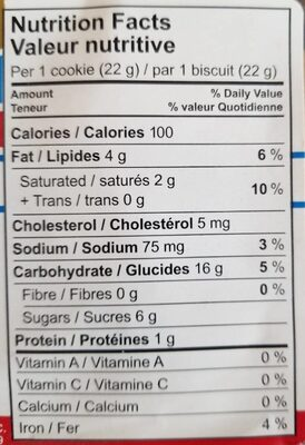 S biscuits - Nutrition facts - fr