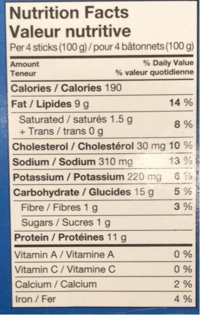 Bâtonnets de poisson - Nutrition facts - fr