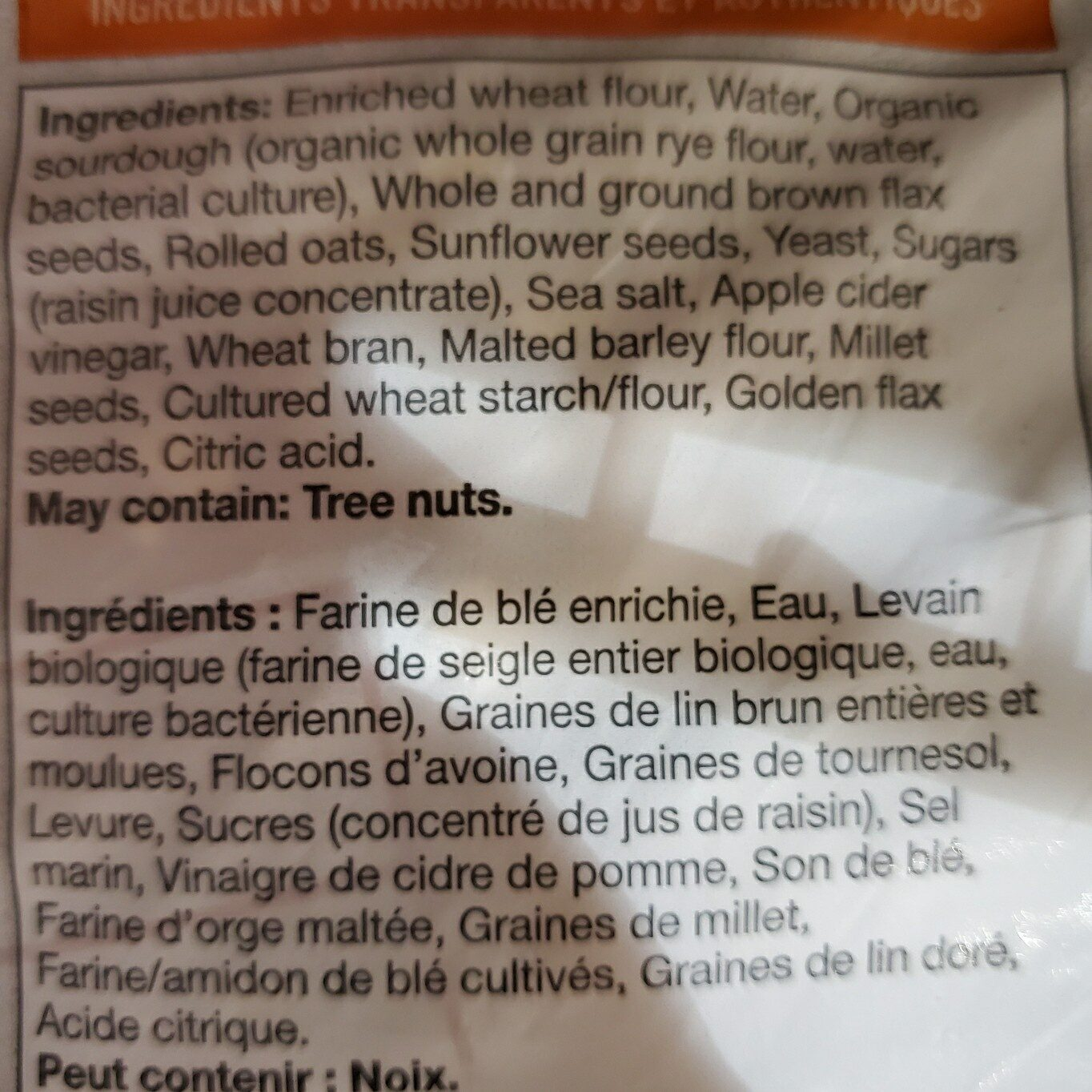 Multigrain bread - Ingrédients - en
