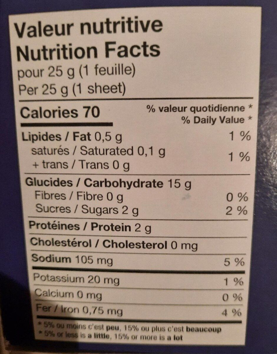 Pate phyllo - Nutrition facts - fr