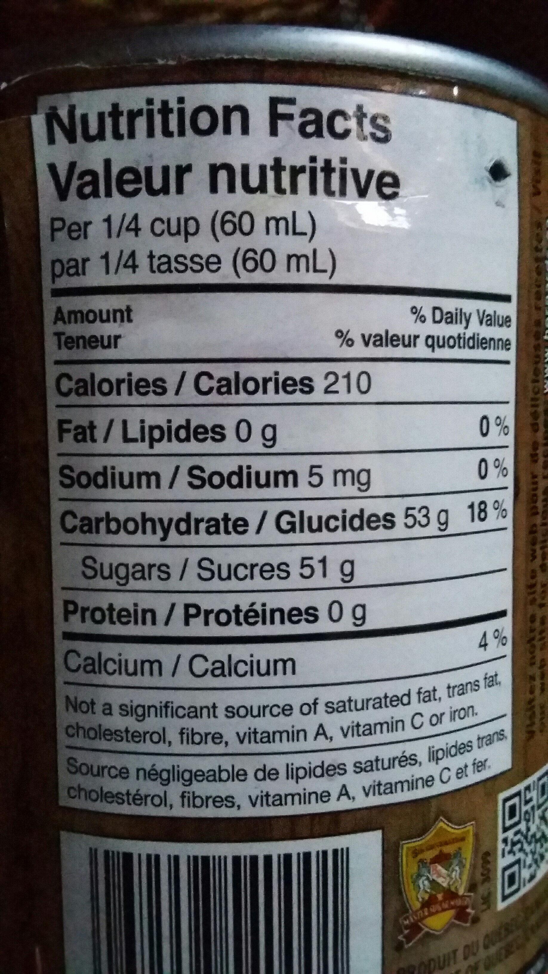 Sirop D'erable 540 ml - Voedingswaarden - fr