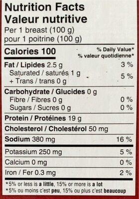 Boneless chicken breast - Nutrition facts - fr