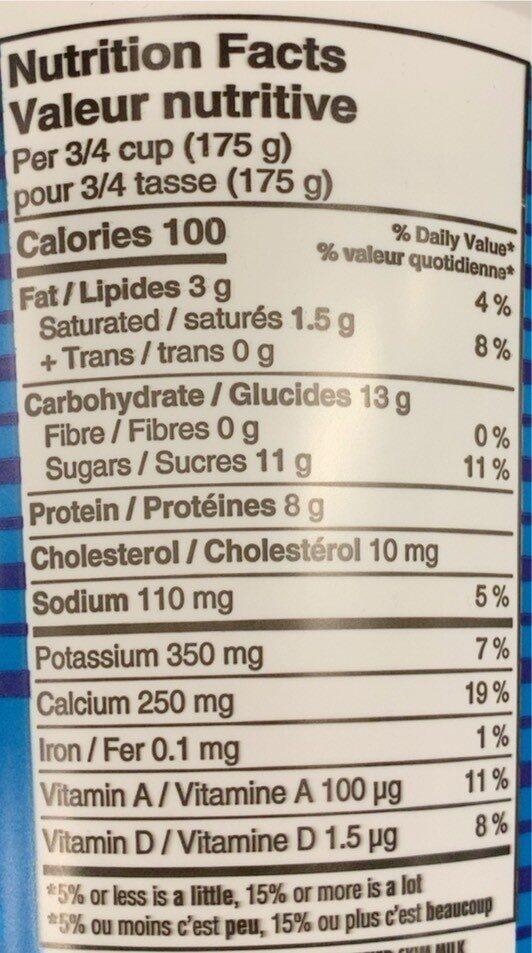 Nature yogurt - Nutrition facts - fr