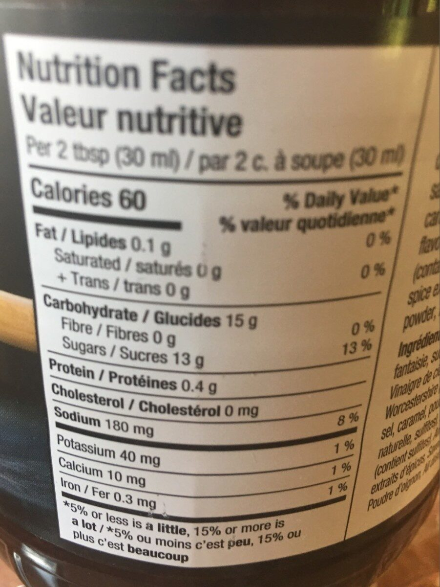 Sauce BBQ - Nutrition facts
