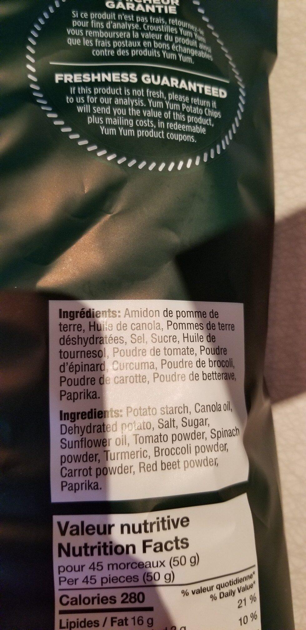 Croustilles viva légumes veggies - Ingredients - en