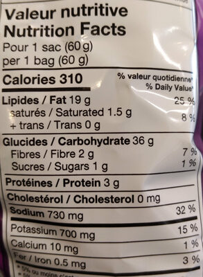 chips assaisonnées - Nutrition facts - fr