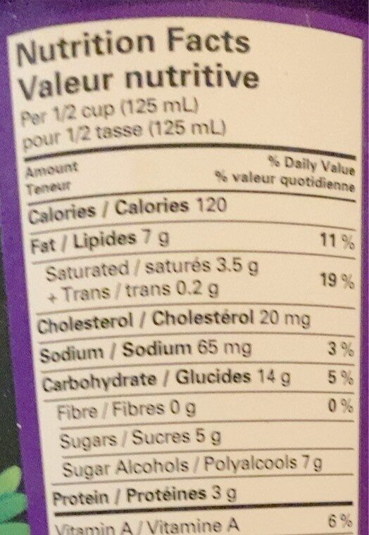 Crème glacée érable et noix - Nutrition facts - fr