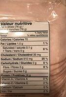 Poitrine de dinde rotie au four - Nutrition facts - fr