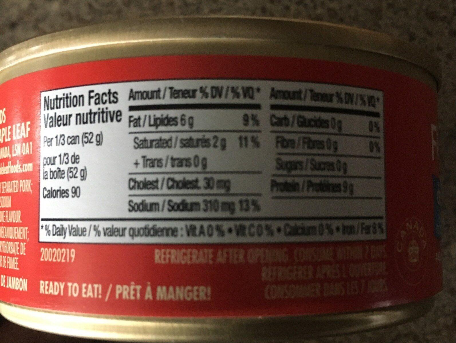 Flocons de jambon - Informations nutritionnelles - fr