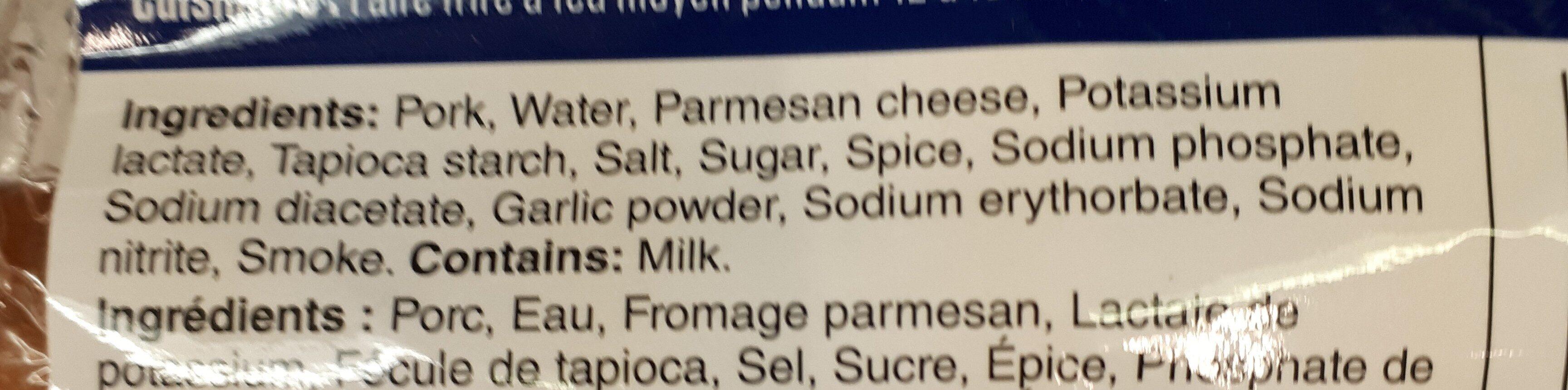 schneiders italian parmesan smokies - Ingredients - en