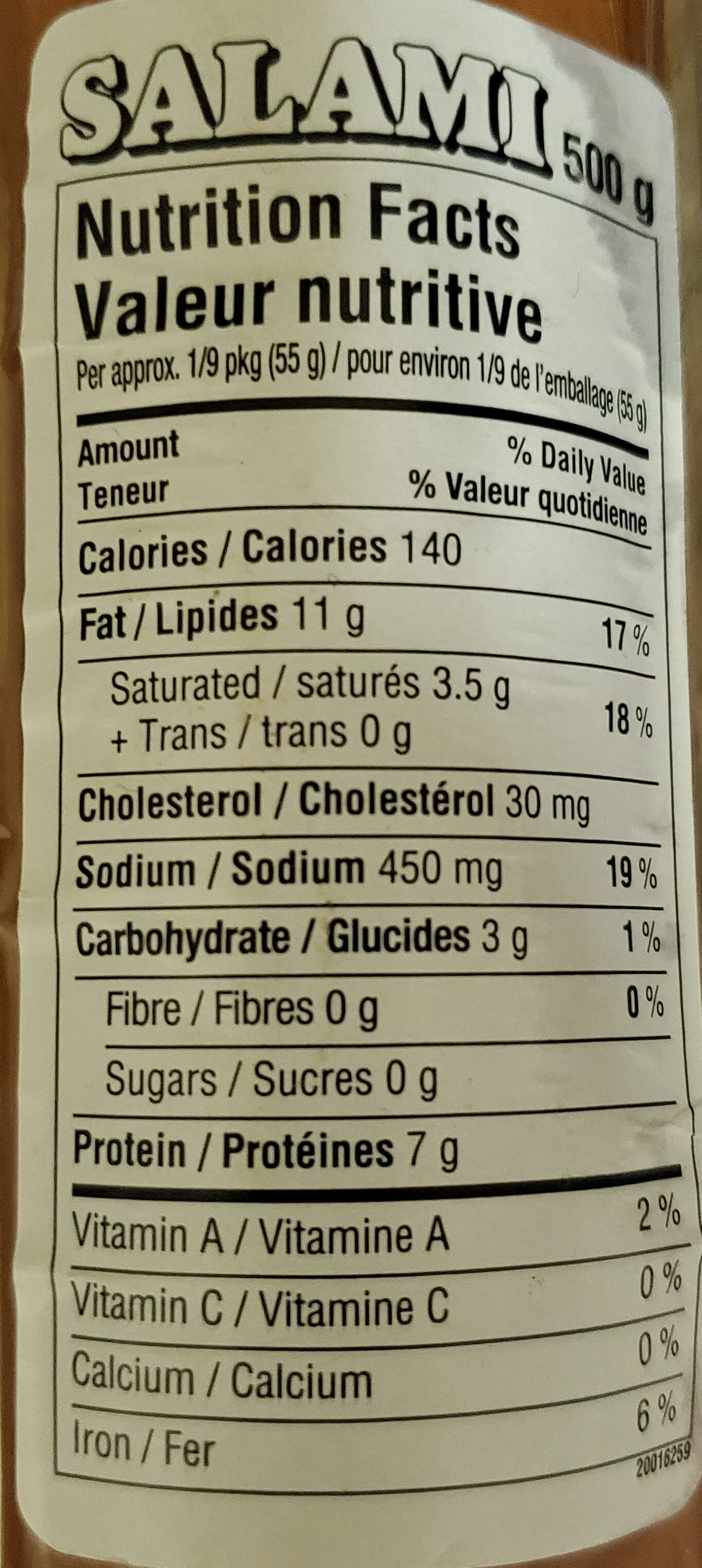 Mitchell's salami - Nutrition facts - en