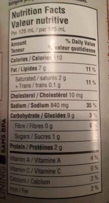 Crème de poulet - Nutrition facts - en