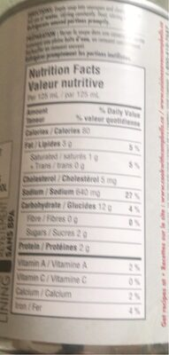 Crème de poulet - Nutrition facts - fr
