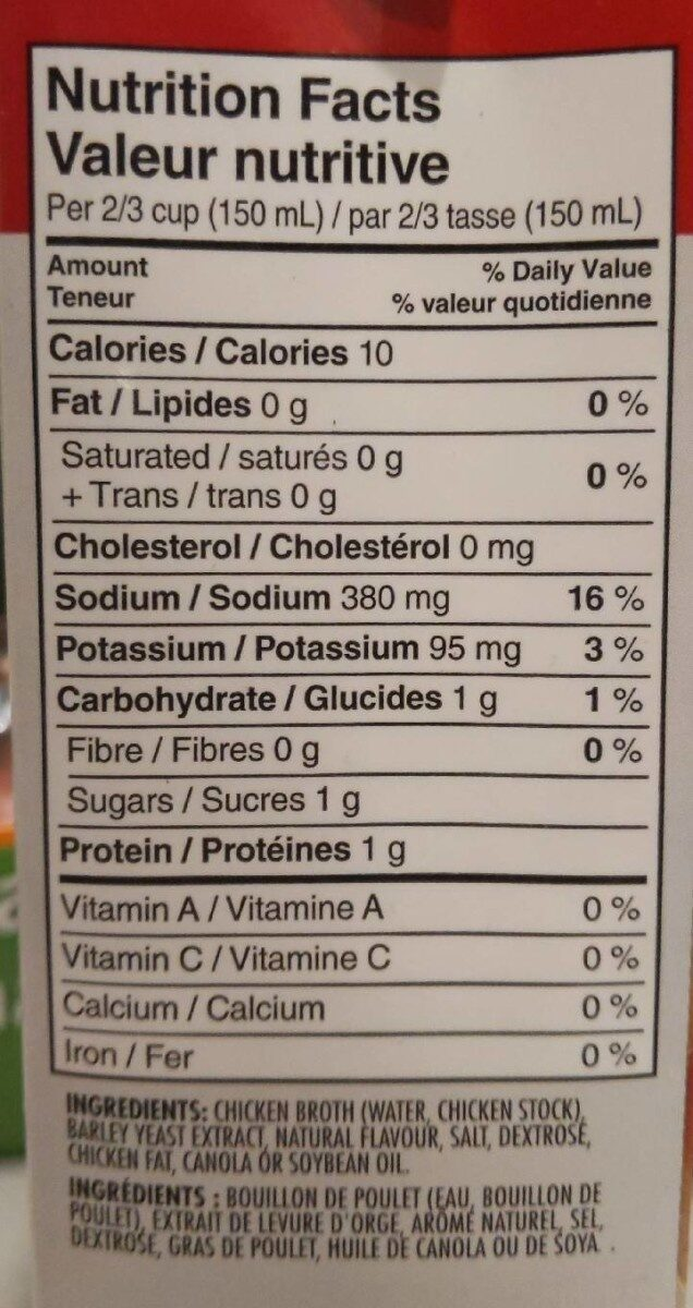 Chicken broth - Informations nutritionnelles - fr