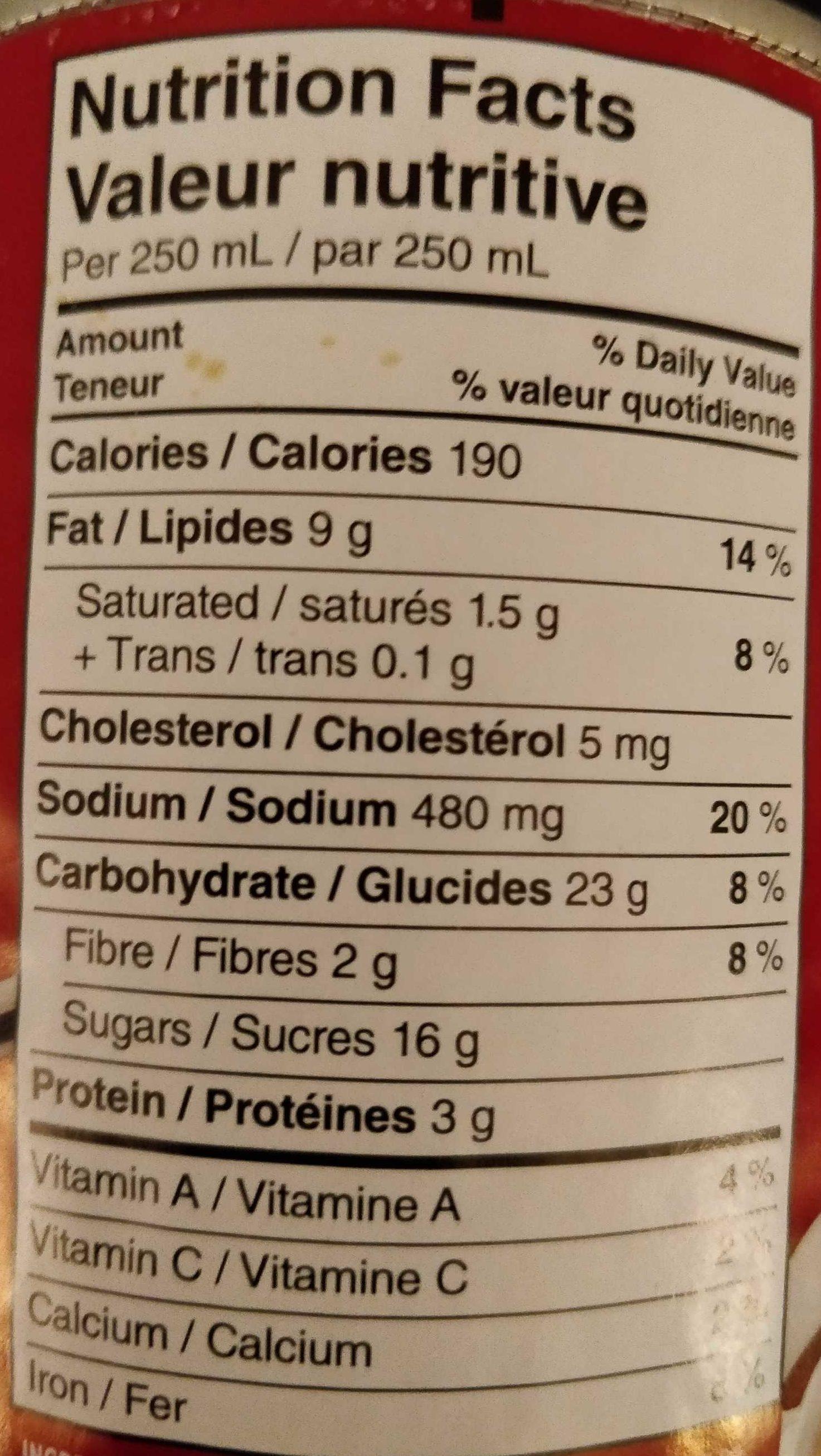 Crème de tomates - Nutrition facts