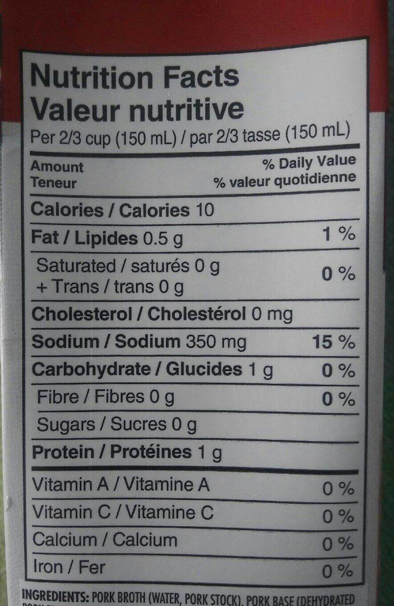 Bouillon de porc pour nouilles ramen - Informations nutritionnelles - fr