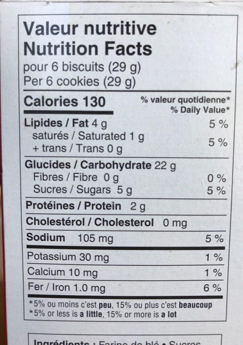 Thé social biscuit - Informations nutritionnelles - fr